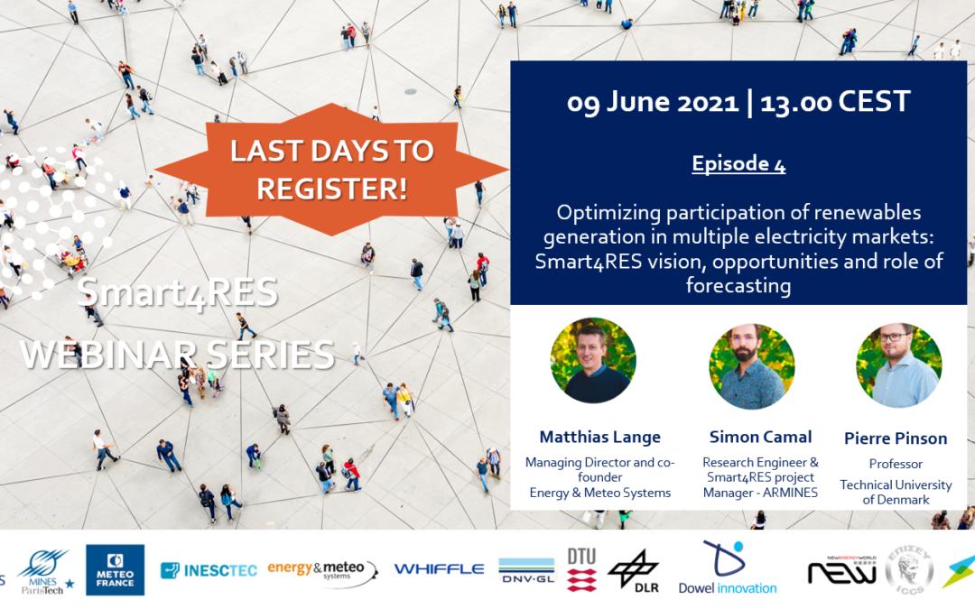 Smart4RES webinar #4: Optimizing participation of renewables generation in multiple electricity markets